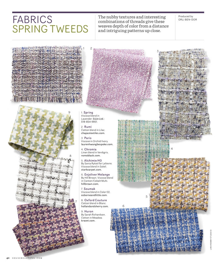WHAT A PRETTY SELECTION OF TWEEDS!  SO HAPPY TO HAVE BEEN PART OF THIS FEATURE.  THANK YOU ORLI! PARIS TWEED AVAILABLE IN 7 GORGEOUS SHADES! 100% VISCOSE, HANDWOVEN FURTHER INQUIRIES: HWANG.LAUREN@GMAIL.COM