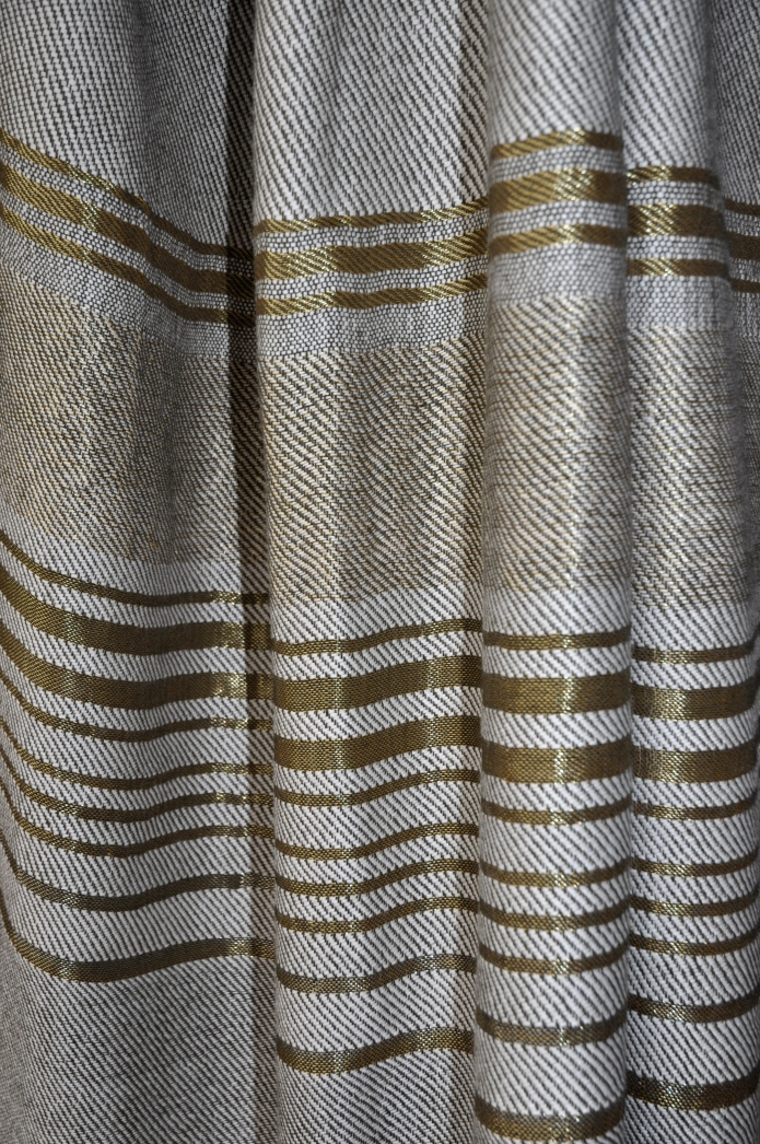 "HANDWOVEN IN BABY ALPACA, SILK & METALLIC YARN.  52"" WIDE. BEAUTIFUL AS DRAPERY, BEDCOVERS & THROWS; SOLD IN 4.5 PANEL LENGTHS OR CUSTOM SIZES AVAILABLE. FOR MORE INFO: HWANG.LAUREN@GMAIL.COM"