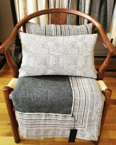 COMBINATION OF SOFT & ROUGH, HANDWOVEN & HAND STITCHED.  BLANKET IS MADE USING CARAVELI BRUSHED ALPACA COLLECTION TRIMMED IN NEW SAG HARBOR LINEN STRIPES.  ON THE CUSHIONS, KANTHA STITCH JACQUARD COLLECTION.  AVAILABLE IN OCT!   FURTHER INFO: HWANG.LAUREN@GMAIL.COM