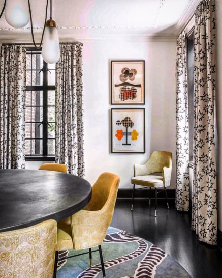 LYRICALLY DESIGNED DINING ROOM BY CORTNEY BISHOP DESIGN FEATURING KANTHA STITCH IN COLOR OCHRE ON DR CHAIRS!